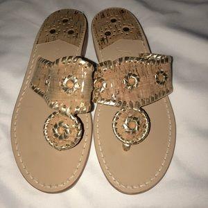 Jack Rogers whip stitch cork/Gold  Sandals 5 nwob